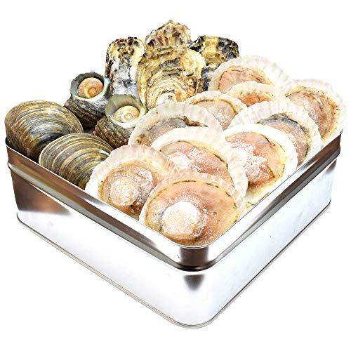 貝の海宝焼 牡蠣4個 さざえ2個 ホンビノス貝2個 ほたて片貝10個 冷凍便配送 冷凍貝セット(牡蠣ナイフ、片手用軍手付)カンカン焼き ミニ缶入 海鮮バーベキューセット プレゼント ギフト