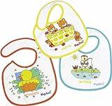 Playshoes 507171 - Pack de 3 baberos con cierre de velcro, 20 x 21 cm, multicolores