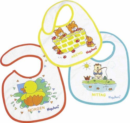 Playshoes Bavaglino per Neonato Impermeabile Con Chiusura In Velcro, Motivo Animale, Set di 3 Pezzi
