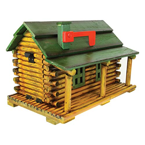 River's Edge Products Log Cabin Mailbox, Solid Pine with Tamper Resistant Mounting Hardware