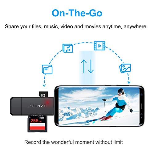 ZEINZE USB 3.0 Kartenleser, USB C Kartenleser, Highspeed SD/Micro SD Kartenlesegerät OTG Adapter für SD/Micro SD/TF/Smartphone/iPad Pro 2020/2018/Mac/PC Laptop und Mehr