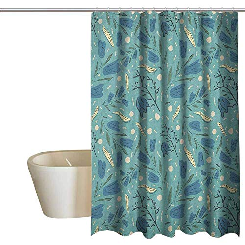 ngquzhe Seafoam lustige Duschvorhang handgezeichnete Aquarell mit Blumenmotiven Blätter Stiele Glocke Blumen Stoff Duschvorhänge für Badezimmer W48 x L72 Zoll Seafoam Nachtblau Elfenbein