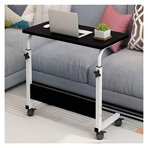 ZXCVBNM Mesa de sobrecama móvil de 80 x 40 cm, altura ajustable, portátil, portátil, rotación, mesa de cama, se puede levantar de pie (color: negro)