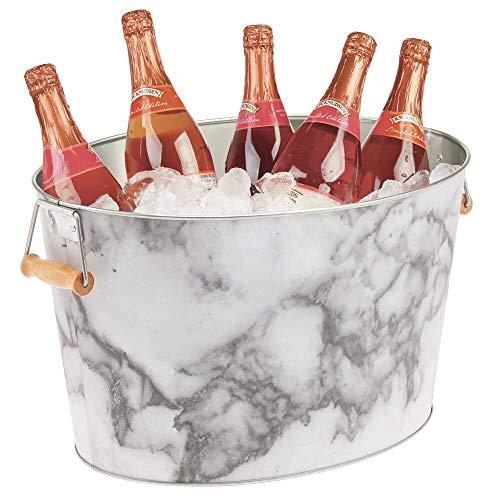 mDesign Champanera de metal – Enfriador de botellas decorativo con asas – Ideal como cubo para enfriar bebidas como vino, cerveza, cava o refrescos – gris y blanco