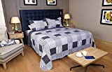 Restmor Tagesdecke Steppdecke mit Quilt Patchwork Design, Zweiseitig - Gesteppter Bettüberwurf - Erhältlich in 3 Größen mit Kissenbezug (King (250x250cm), Jumana)