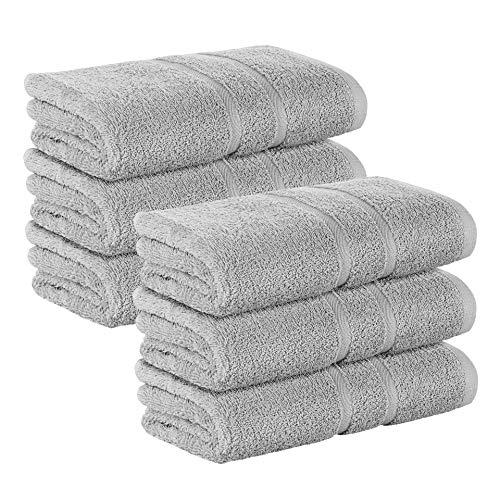 6 Stück Premium Frottee Handtücher 50x100 cm in hellgrau von StickandShine in 500g/m² aus 100% Baumwolle
