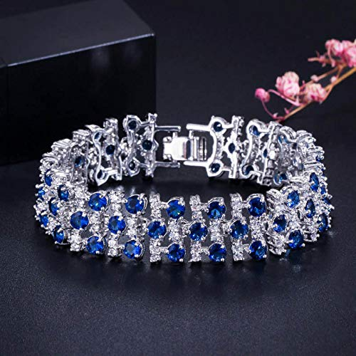 Bracelet For Women Romantic Multicolored Big Wide Cubic Zircon Stones Bracelets Bangle For Women Wedding Party Jewelry Accessories Blue