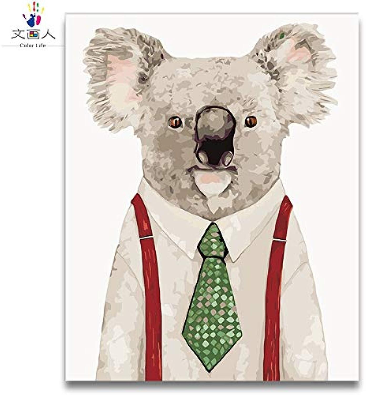 KYKDY fai da te Coloreeeazione a uomoo da numeri 3 pezzi Koala, gatto da cowboy, dottore gatto foto dipinti con numeri animali del fumetto americano, 6584 koala, 40x50 con cornice