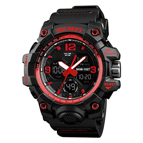 Watch - 50m Montre éLectronique ImperméAble pour Hommes Fashion LED Backlight Multifonction Sports De Plein Air Watch Neutral Adulte Montre Design Simple