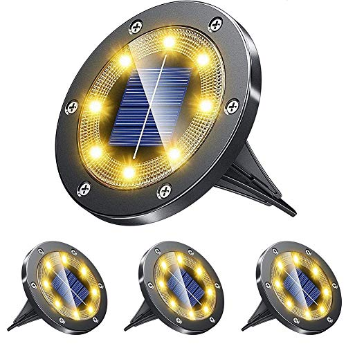 Solar Ground Lights – 8 LED Solar Garden Lamp Outdoor,Disk Lights Waterproof In-Ground Outdoor Landscape Lighting for Lawn Patio Pathway Yard Deck Driveway Walkway Flood Light