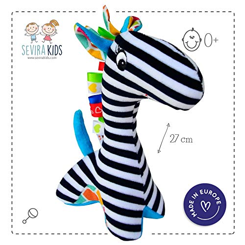 Sevira Kids - Hochet Girafe Okapi - Jouet d'éveil pour bébé - Made in EU
