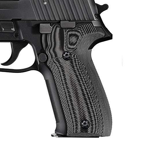 Cool Hand Grips Compatible with Sig Sauer P226, Free Screws Included, Traditional Saw Cut, Gun Metal G10, 226-T-5