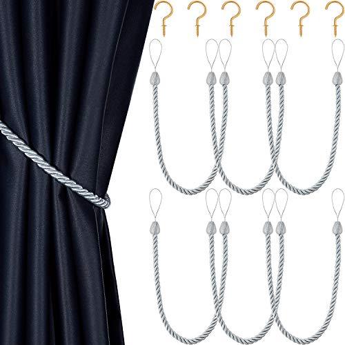 Blulu 6 Stücke Vorhang Raffhalter Geflochtene Seil Gürtel Vorhang Krawatten Handgefertigte Vorhanghalterungen Vorhang Raffhalter mit Metall Vorhang Raffhalter Haken für Fenster Zubehör