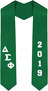 Custom Delta Sigma Phi Greek Diagonal Lettered Graduation Sash Stole With Year