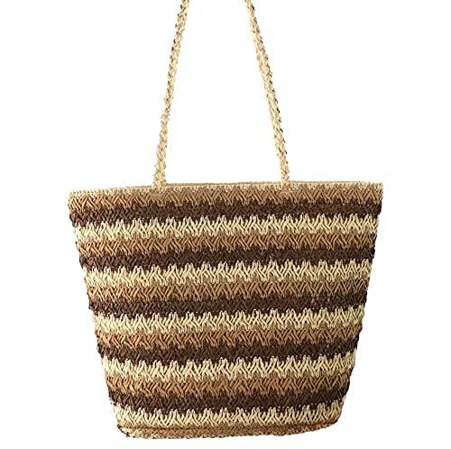 Bolso tejido tejido de tres colores Bolso tejido de paja de un solo hombro de moda Bolso femenino de ocio Bolso de playa