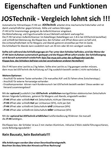 JOSTechnik JT-HK automatische Hühnerklappe mit 1m Außenlichtsensor 230 x 340 mm mit echter Nothaltefunktion - 2