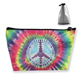 Tie Dye Peace Sign Storage Bag Holder Portable Gift for Girls Women Large Capacity Cosmetic Train Case for Cosmetics Jewelry Premium Travel Bag