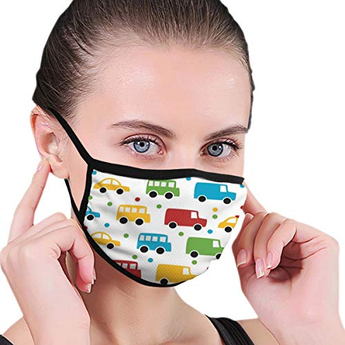 Maske Comfortable Windproof mask,Vivid Colored Silhouettes of Transportation Vehicles Bus Taxi Automobile Kids Pattern,Printed Facial Decorations for Women and Men