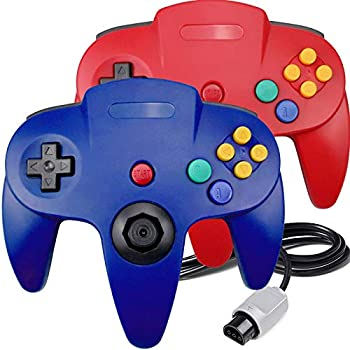 2 Packs N64 Controller King Smart Classic Wired N64 Controllers with Upgraded Joystick for Original Nintendo 64 Console Red and Blue