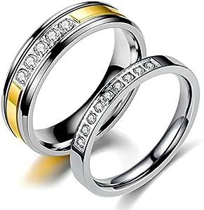 AnazoZ Anillo Compromiso Pareja Acero Inoxidable Plata Oro Redondo con Circonita Blanca Talla Mujer 20 & Hombre 30