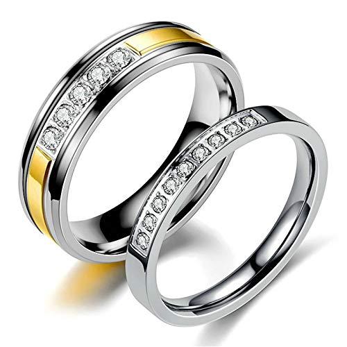 ANAZOZ 2 Stücke Paarringe 3mm Edelstahl Ring Herz Zirkonia 6mm Edelstahl Ringe Herren Ernst Design Trauringe Partnerringe Eheringe Damen Größe 52 (16.6) & Herren Größe 60 (19.1)
