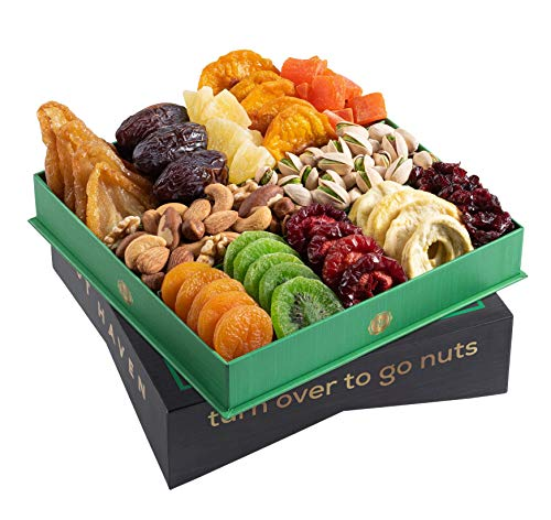 Holiday Christmas Dried Fruit & Nuts Gift Basket - Fresh Dried Fruit & Nuts Gift Basket - Fantastic Food Gift Basket for Thanksgiving, Sympathy, Family, Men & Women