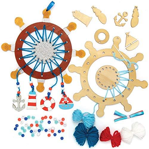 Baker Ross Kits Atrapasueños de Madera Vida de Mar (paquete de 4) para proyectos de arte y manualidades para niños, surtidos