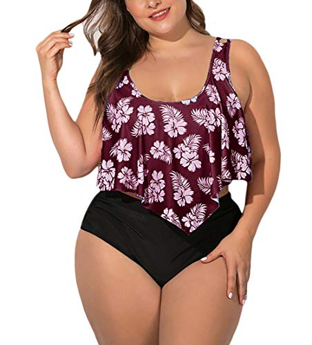 MAYFASEY Women's Plus Size Swimwear Ruffles Tankini Tops Tummy Control Two Pieces Floral Retro Print Swimsuits Wine Red 3X
