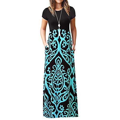 Tosonse Summer Boho Maxi Dresses for Women Short Sleeve Floral Print Tank...