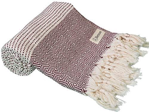 Bersuse Handloom Handtuch, 100% Baumwolle, 94 x 178 cm, Burgunderrot
