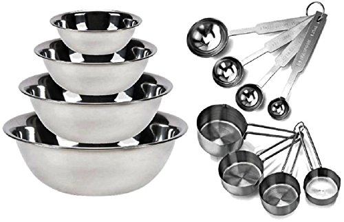 Kitchen Mission Stainless Steel Mixing Bowls 1.5,3,4, and 5 Quart. Plus Measuring Cup and Spoon Sets, Set of 6 (Complete Set)