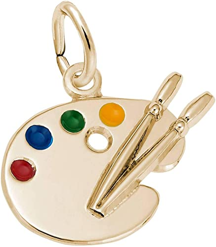 Artist Painter Brush Palette Charm Paint Art 925 Solid Sterling Silver Pendant Jewelry Detailed Design No Chain
