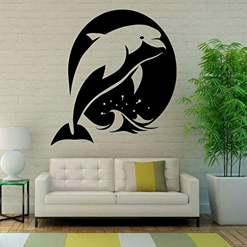 Wopiaol Dolphin muursticker, motief oceaan-zeedieren voor kinderen Bedroom Bathroom Nursery Home Decor Waterproof Door Window Vinyl