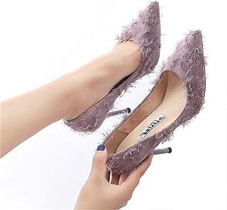 Sexy High Heels Tassel Cloth, Solid Color Pointed 9cm Fine Heel Single Shoes,34EU-39EU