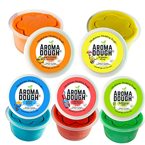 Aroma Dough Gluten-Free, Soy-Free, Play Dough for Kids, Eco Friendly Playdough Set (5 Pack) All Natural Aromas! Back to School - Gifts - Stocking Stuffers! Made in USA!