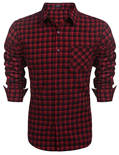 COOFANDY Herren Hemd Kariert Langarm Slim fit Freizeithemden Flanellhemd Karohemd Manschette mit Stickerei Hemden Männer Rot L