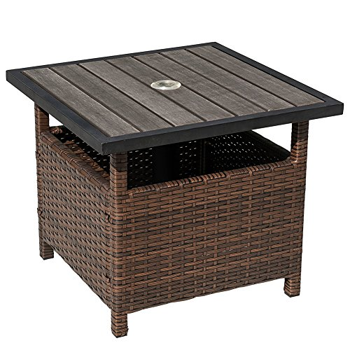 Sundale Outdoor Patio Umbrella Stand All Weather Wicker Rattan Umbrella Table Garden Furniture Deck Pool Table