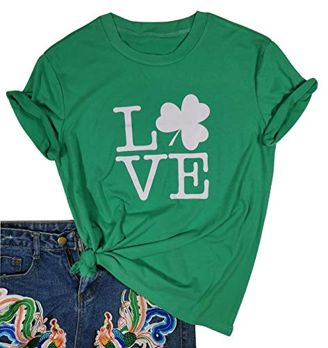 St. Patrick's Day Love Shamrock T Shirt Women Cute Graphic Tee Short Sleeve Tops St Patricks Day Tshirt (Large, Green)