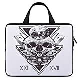 Laptop Sleeve Compatible with 10 inch Geometry Skull Dead Head Alchemy Hipster Tattoo Style Art Computer Carrying Case Water Repellent Protective Bag for Notebook for Men Women