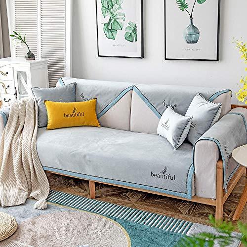 YUTJK Funda se Puede Empalmar de Sofá Funda para sofá Antideslizante Protector Cubierta de Muebles,Hermosa Funda de sofá de Felpa Fina,Vendido por Pieza,Gris Azul_110×240cm