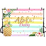 MEHOFOND Aloha Girl Baby Shower Backdrop Confetti Colorful Stripes Summer Tropical Hawaiian Luau Party Beach Seaside Pineapple Floral Background for Photography Photo Booth Banner 7x5ft