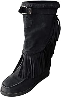 👏 Happylove 👏 Women's Rome Retro Suede Fringe Moccasin Boots Mid Calf Flat Booties