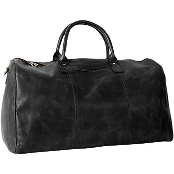 HOLZRICHTER Berlin No 13-1 (L) - Premium Weekender Reisetasche, Sporttasche & Handgepäck aus Leder - schwarz-anthrazit