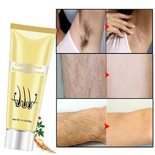 Ginseng Corps Épilation Crème, Main Perte De Cheveux Crème Dépilatoire Aisselle Cheveux Remover pour Bras à aisselle, Corps, Hommes et Femmes 40g