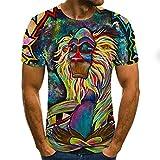 Camiseta de Manga Corta Camisa 3D Camiseta De Manga Corta con Estampado De Orangután 3D para Hombre, Camiseta De Verano con Estampado De Animales A La Moda, Ropa De Hombre De Gran