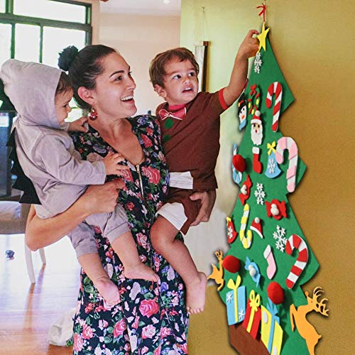 Blissun 3ft DIY Felt Christmas Tree Set with 28pcs DIY Christmas Ornaments for Kids, Xmas Gifts, New Year Door Wall Hanging Decorations