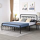 VECELO Vintage King Size Bed Frame Platform with Headboard and Footboard/No Box Spring Needed,Premium Steel Solid Sturdy Metal Slat Support,Black