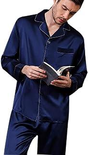 100 Pure Silk Luxurious Pyjamas for Men Set Long Sleepwear Pyjama Set Pure Mulberry Nightwear Loungewear (Size : XL)