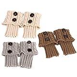 PRETYZOOM 3 Pares de Calcetines de Bota de Mujer Invierno Cálido Crochet Tejido Calentadores de Piernas Puños de Bota Toppers Mangas Cortas de Pierna Regalo de Navidad Colores Surtidos 1