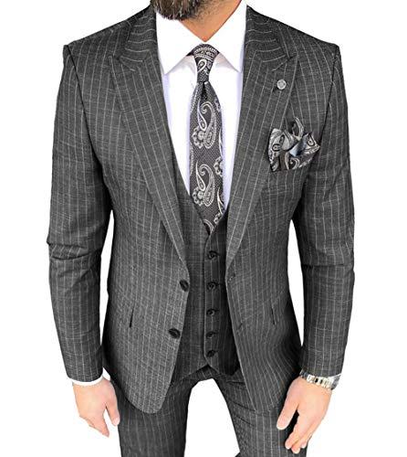 MoranX Trajes de hombre de moda Slim Fit 3 piezas Pinstripe delgado lino transpirable chaqueta verano esmoquin boda novios